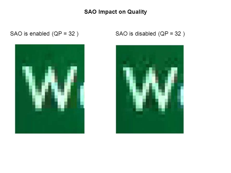 SAO Impact on Quality SAO is enabled (QP = 32 ) SAO is disabled (QP = 32 )