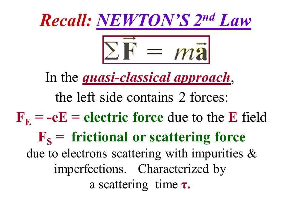 Recall: NEWTON'S 2nd Law
