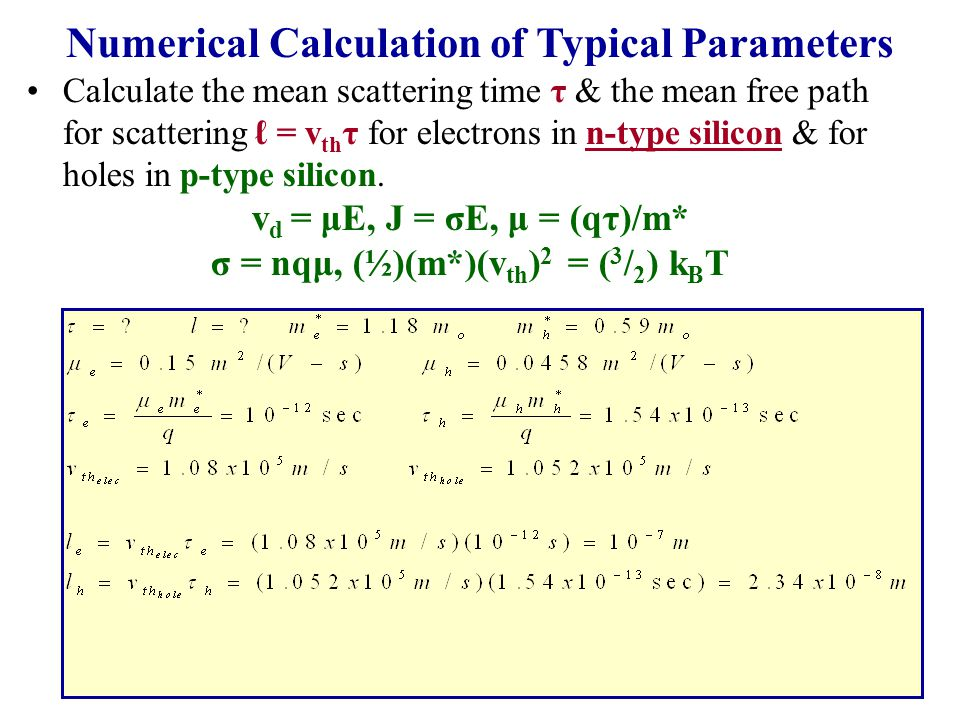 Numerical Calculation of Typical Parameters