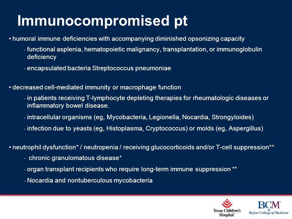 Immunocompromised pt Sequential infection