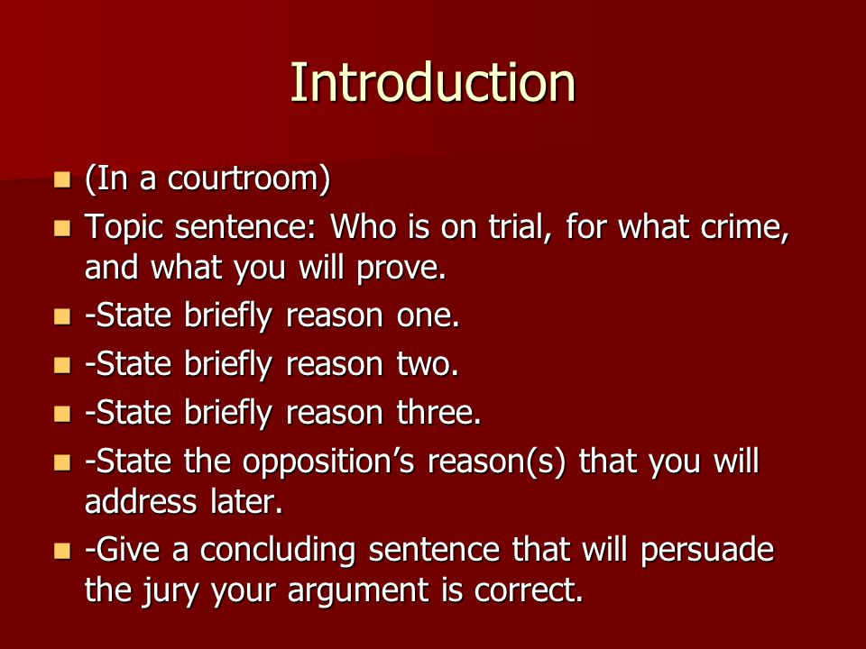 Introduction (In a courtroom)