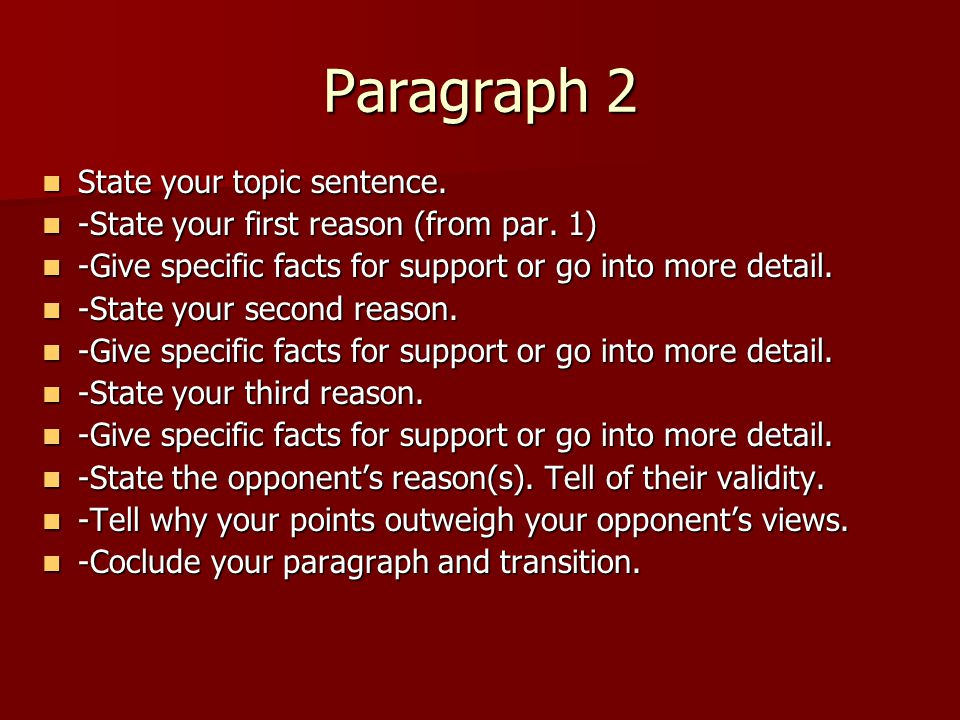 Paragraph 2 State your topic sentence.