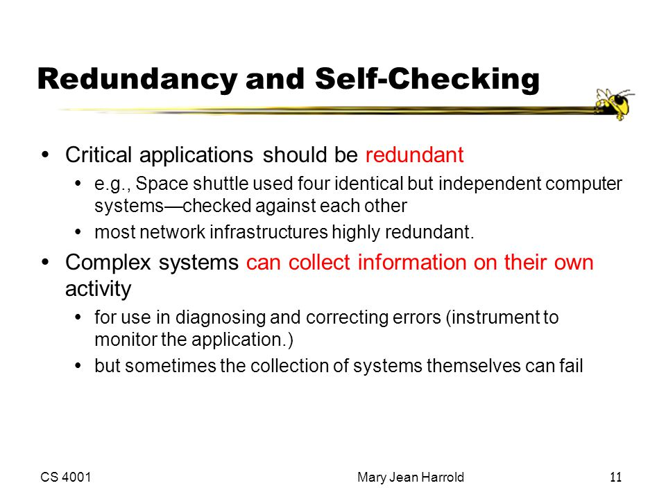 Redundancy and Self-Checking
