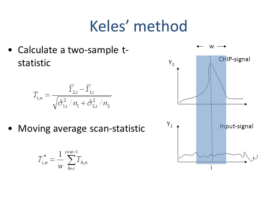 Keles' method Calculate a two-sample t-statistic