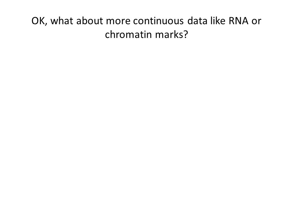 OK, what about more continuous data like RNA or chromatin marks
