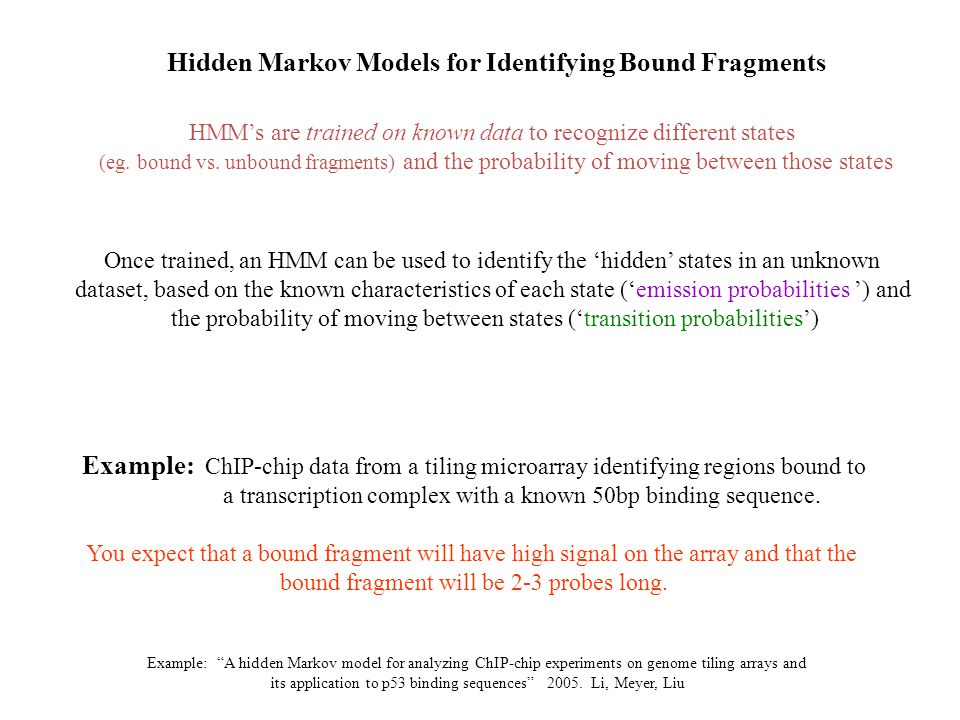 Hidden Markov Models for Identifying Bound Fragments