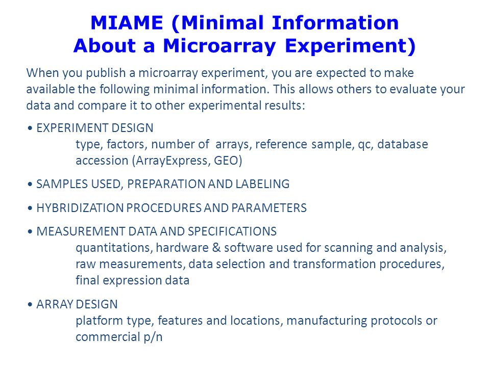 MIAME (Minimal Information About a Microarray Experiment)