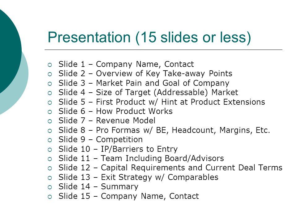 Presentation (15 slides or less)