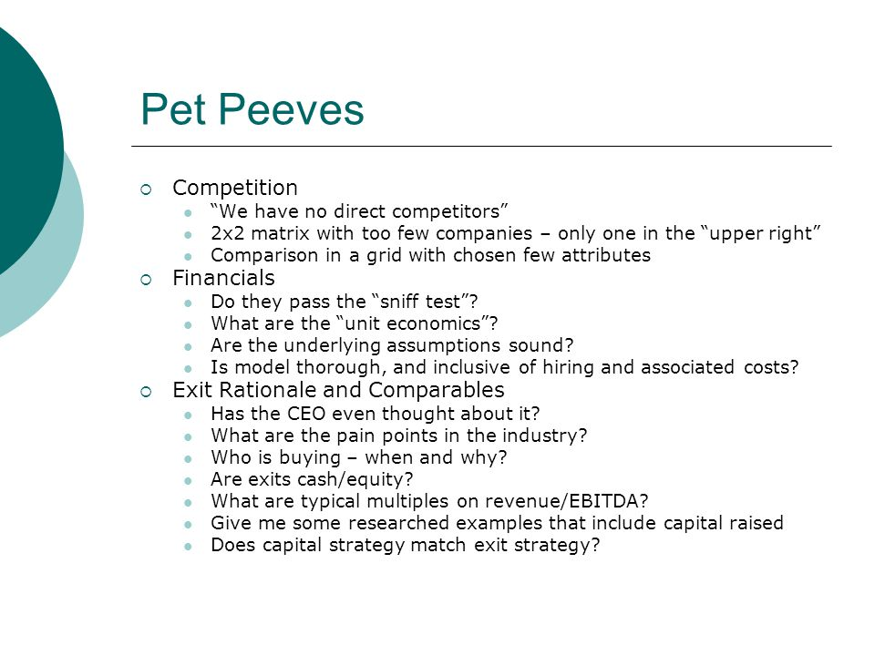 Pet Peeves Competition Financials Exit Rationale and Comparables