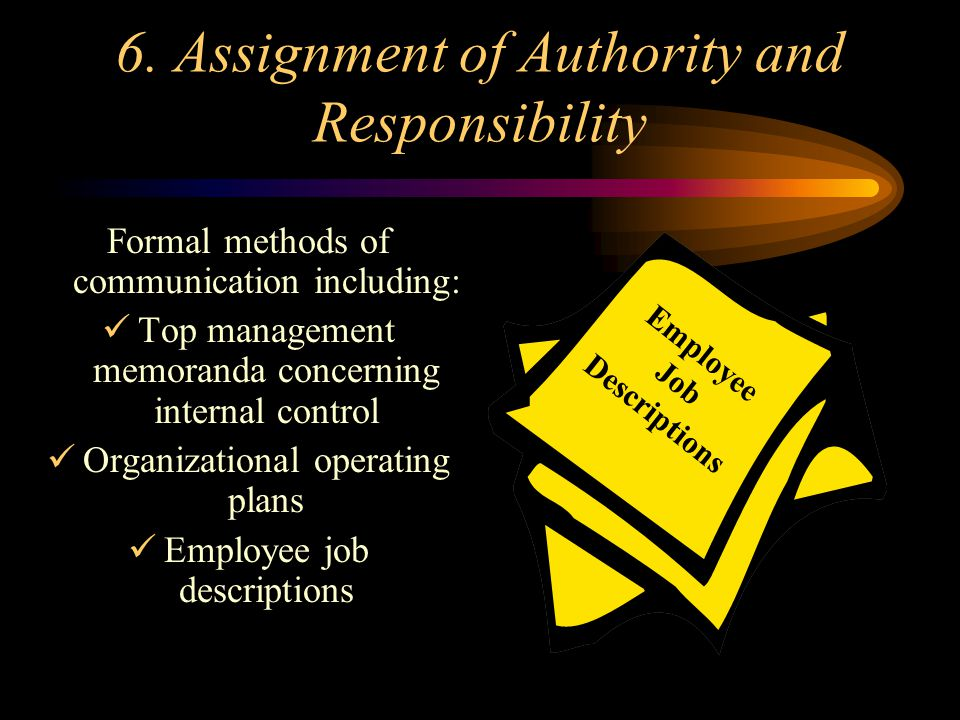6. Assignment of Authority and Responsibility