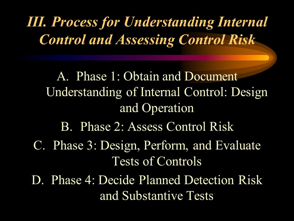 III. Process for Understanding Internal Control and Assessing Control Risk