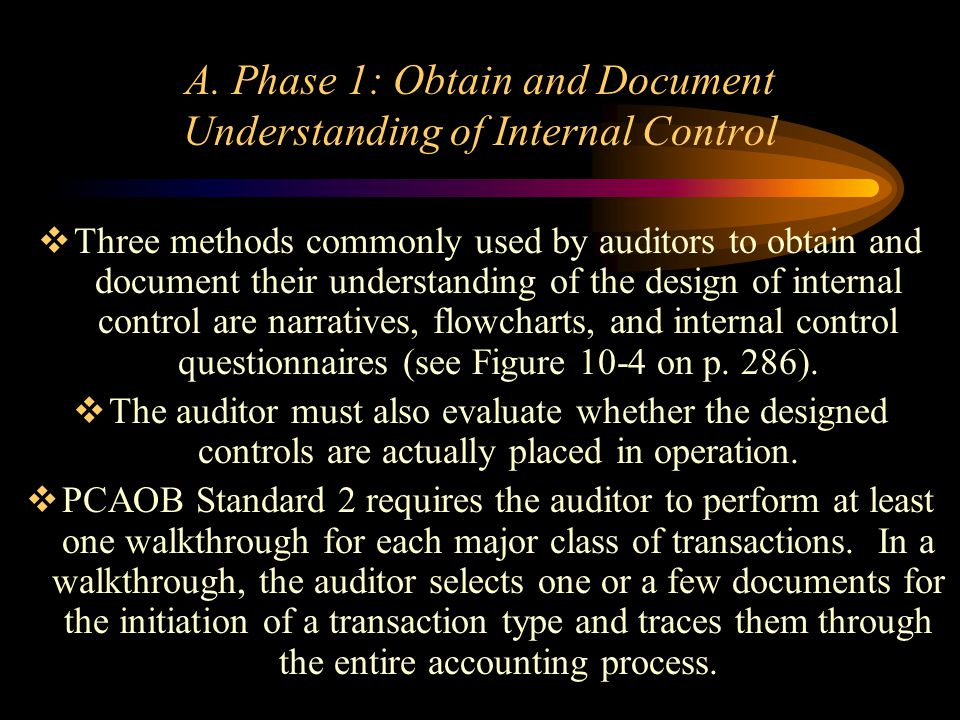 A. Phase 1: Obtain and Document Understanding of Internal Control