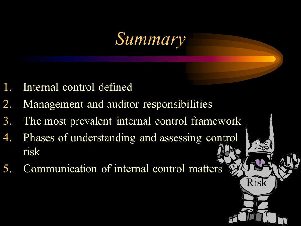 Summary Internal control defined