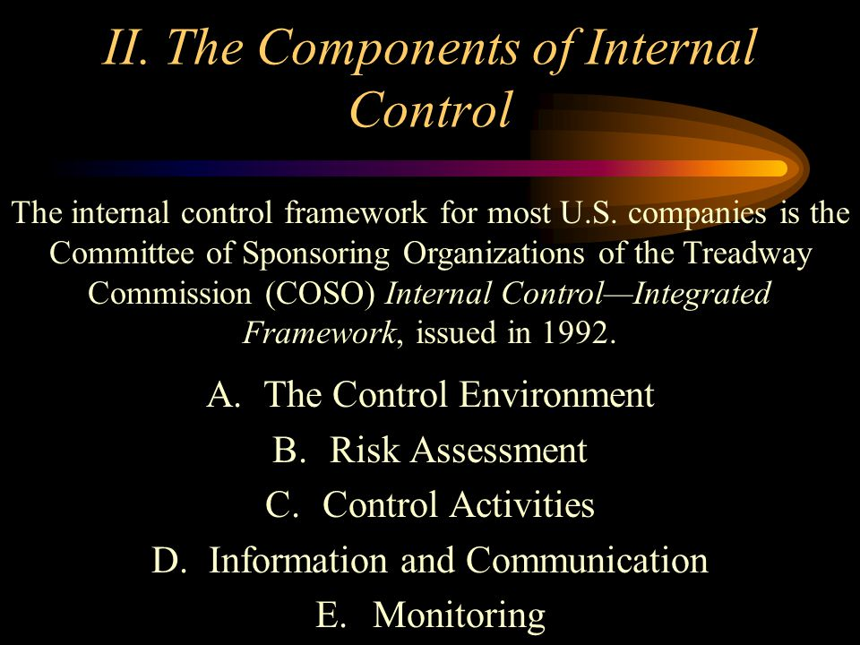 II. The Components of Internal Control