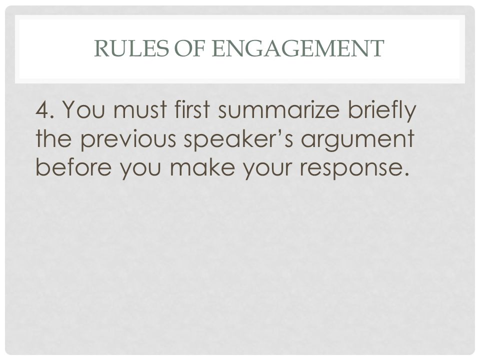 Rules of Engagement 4.