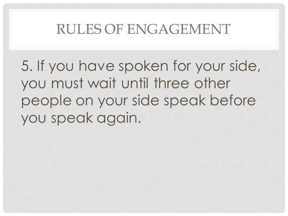 Rules of Engagement 5.