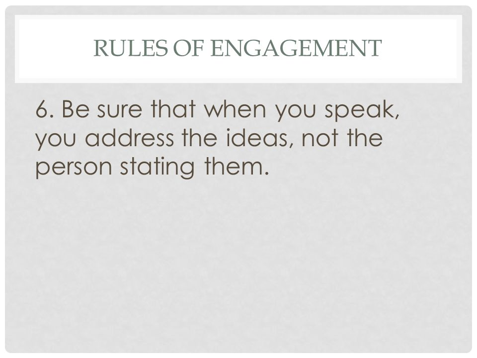 Rules of Engagement 6.