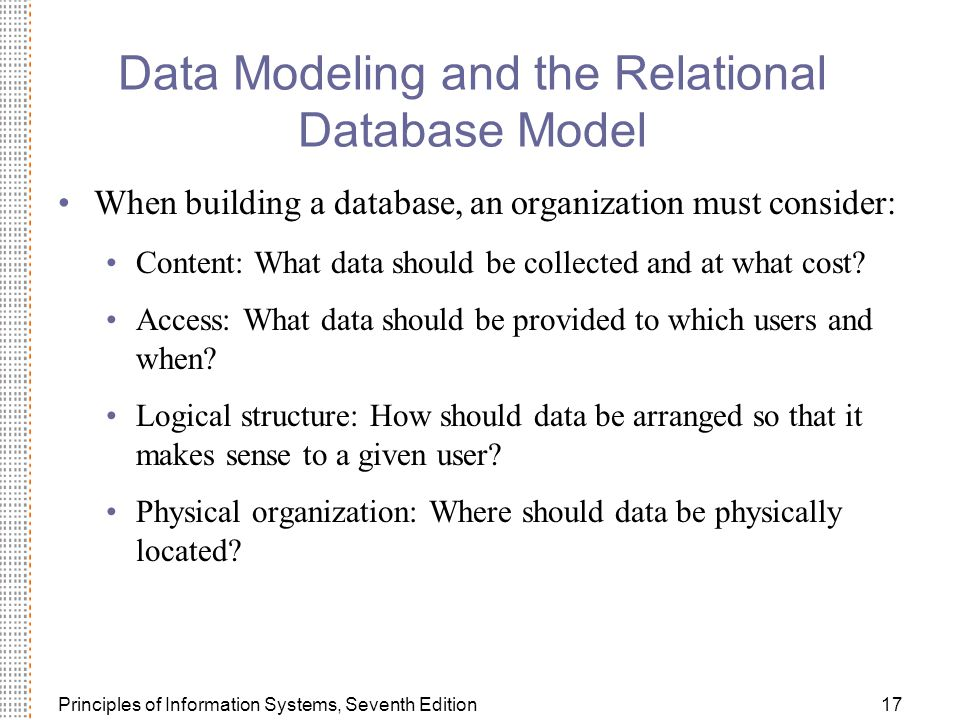 Data Modeling and the Relational Database Model