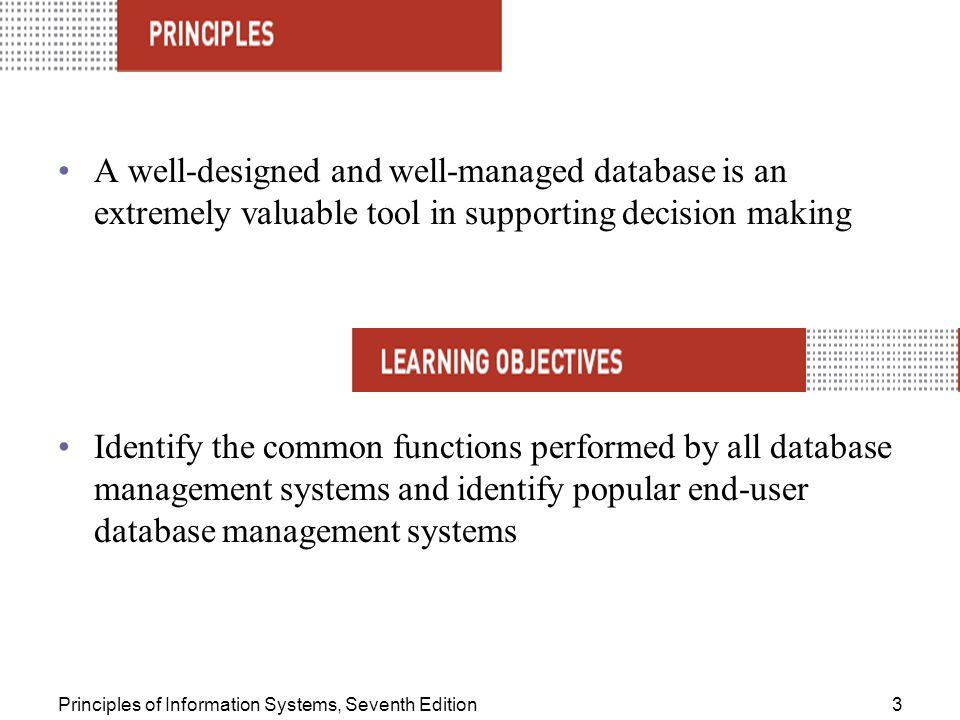 A well-designed and well-managed database is an extremely valuable tool in supporting decision making
