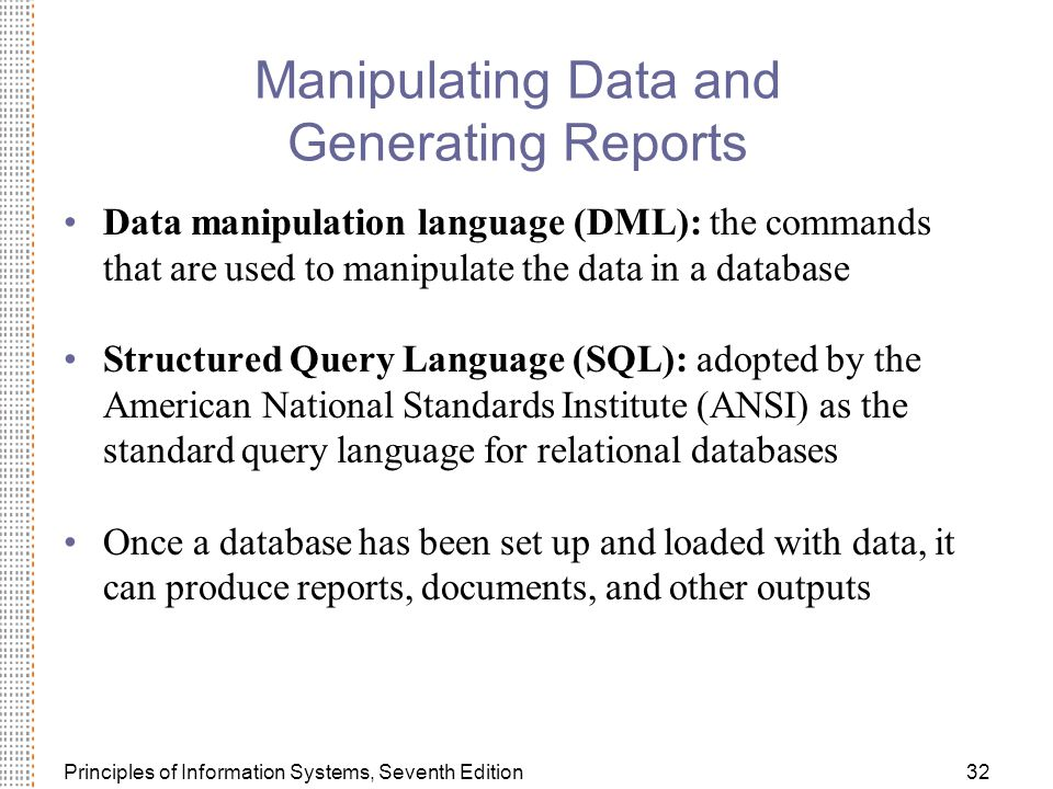 Manipulating Data and Generating Reports