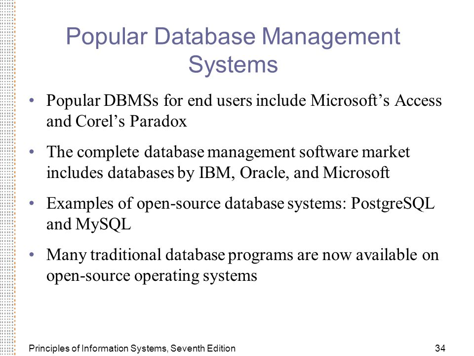 Popular Database Management Systems