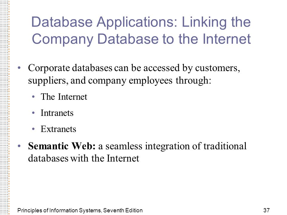 Database Applications: Linking the Company Database to the Internet