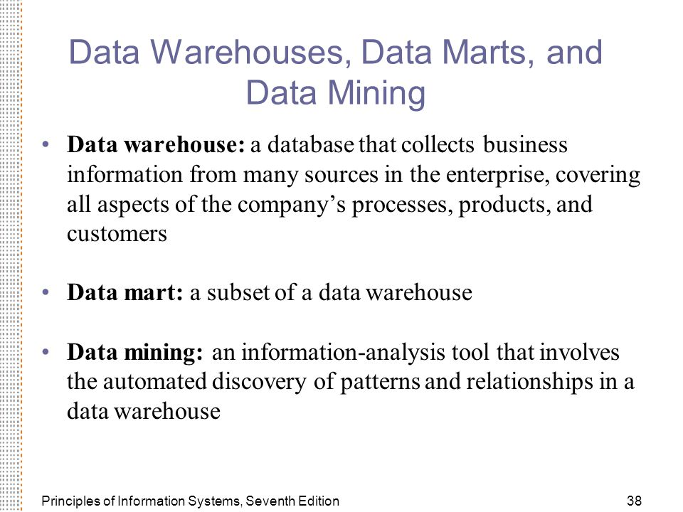 Data Warehouses, Data Marts, and Data Mining