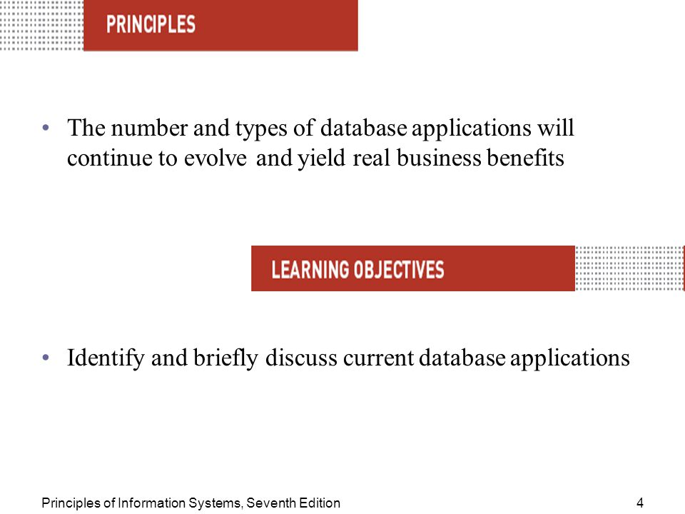 Identify and briefly discuss current database applications