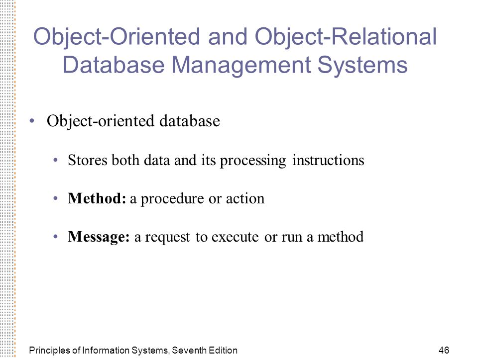 Object-Oriented and Object-Relational Database Management Systems