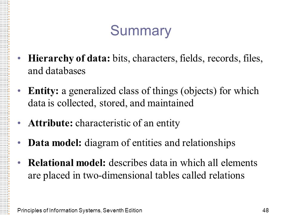 Summary Hierarchy of data: bits, characters, fields, records, files, and databases.