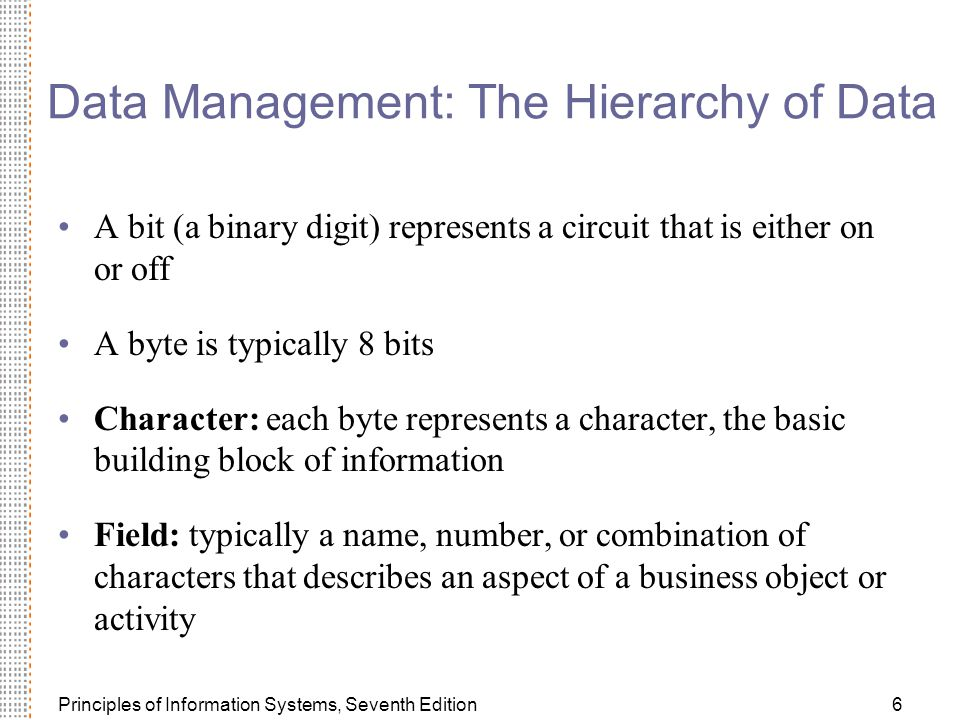 Data Management: The Hierarchy of Data