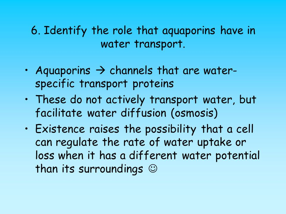 6. Identify the role that aquaporins have in water transport.