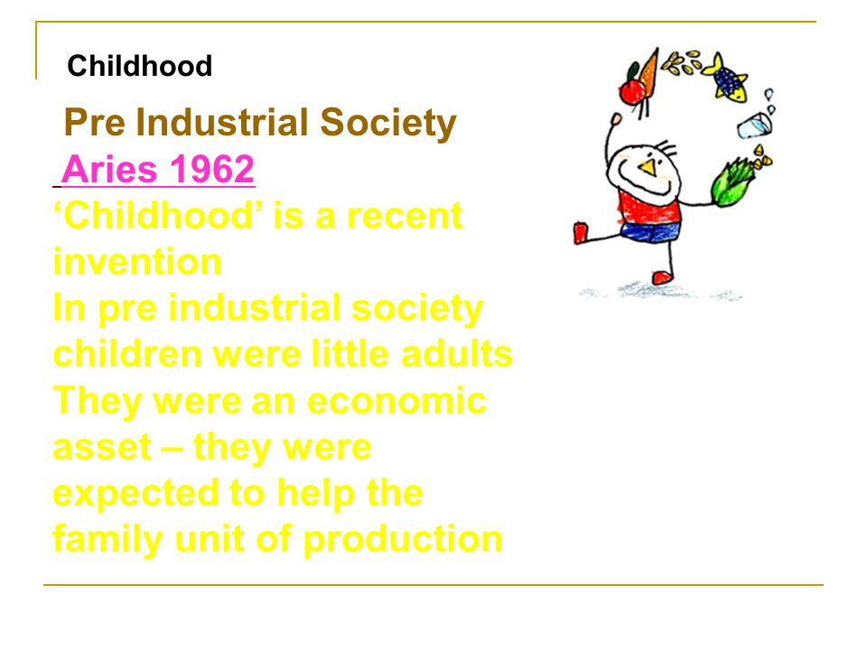Pre Industrial Society Aries 1962 'Childhood' is a recent invention