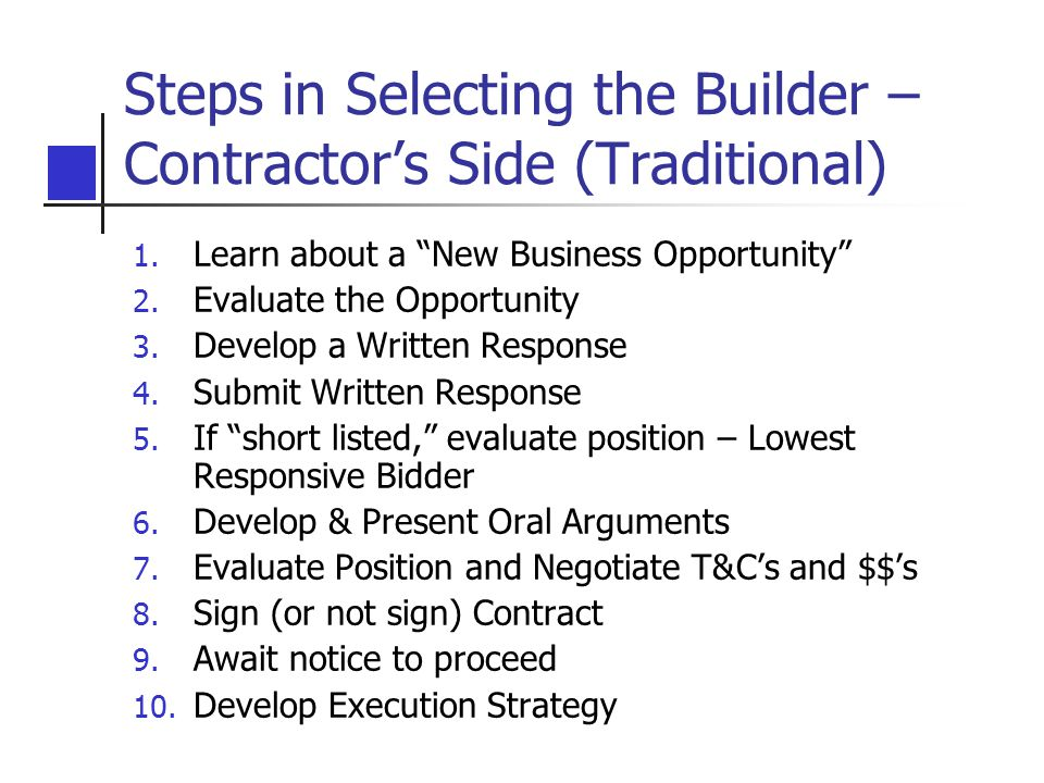 Steps in Selecting the Builder – Contractor's Side (Traditional)
