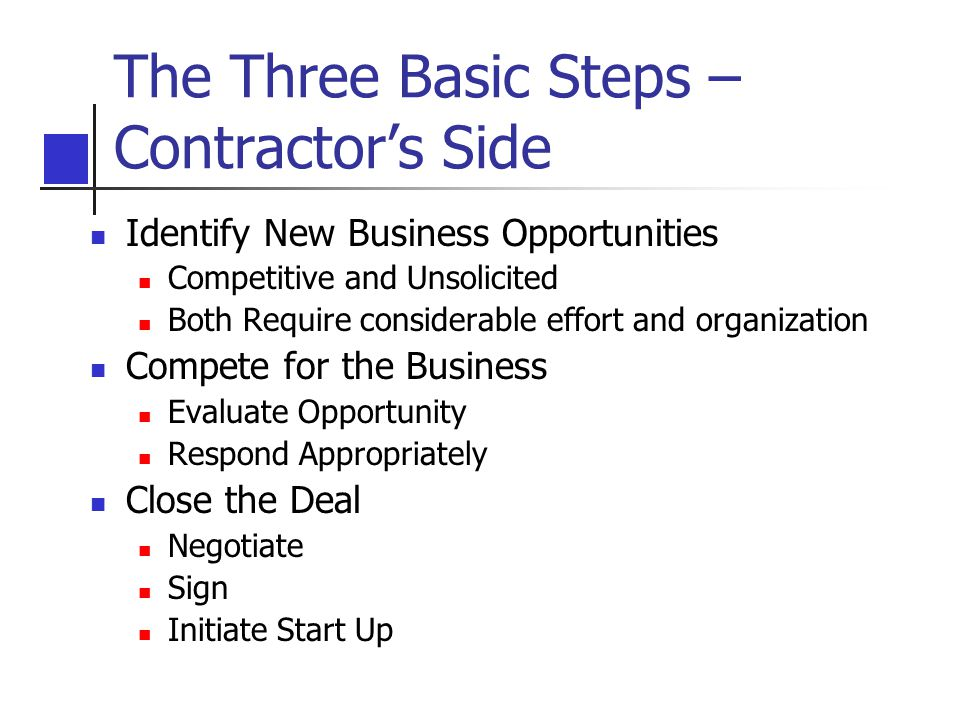 The Three Basic Steps – Contractor's Side