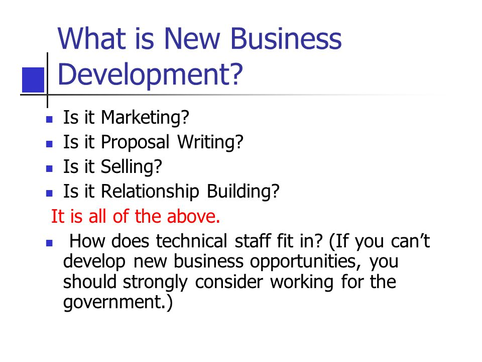 What is New Business Development