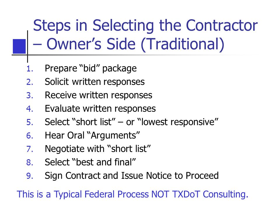 Steps in Selecting the Contractor – Owner's Side (Traditional)