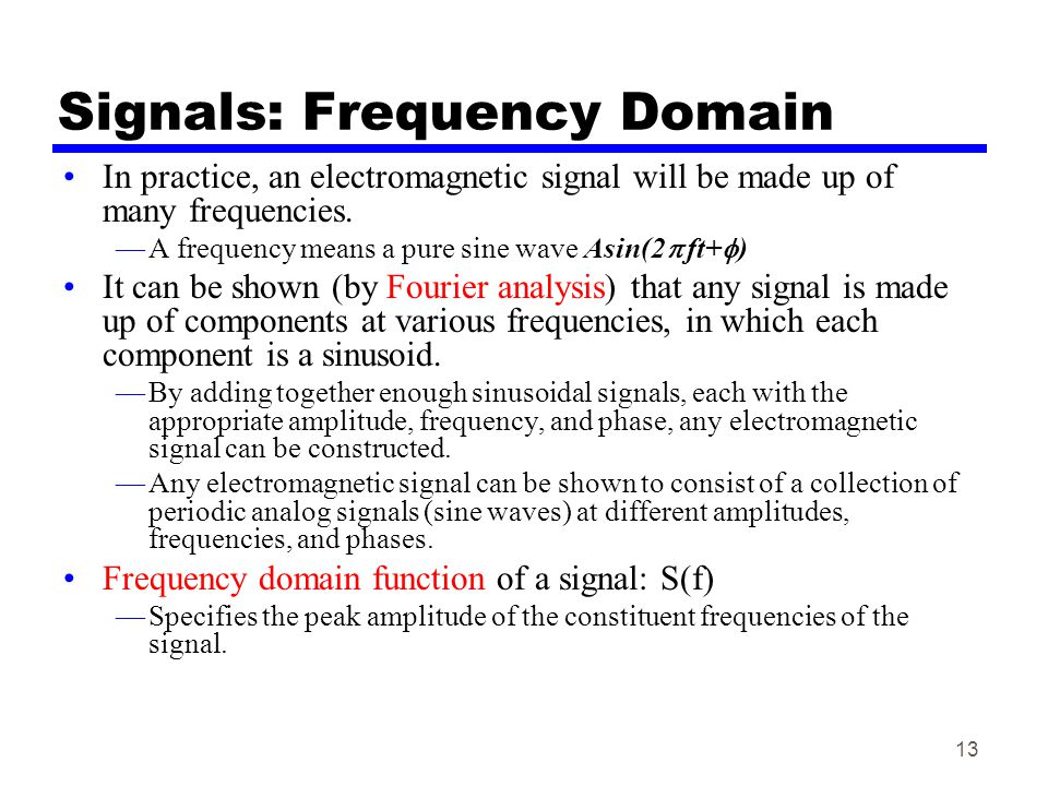 Signals: Frequency Domain