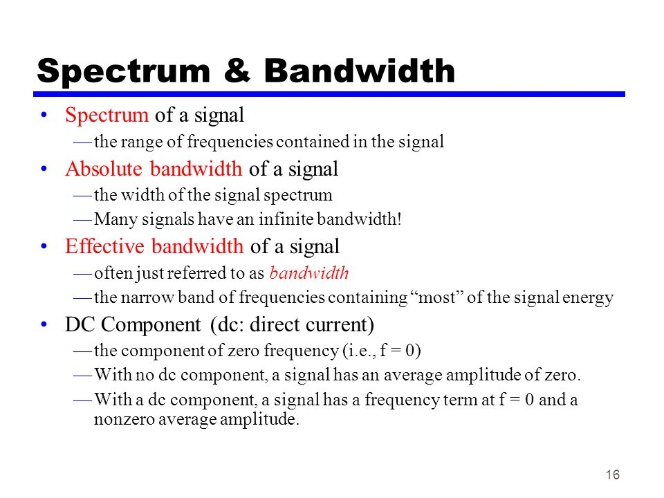 Spectrum & Bandwidth Spectrum of a signal