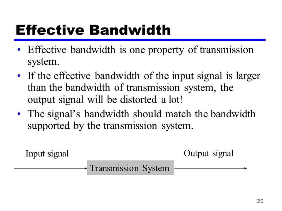 Effective Bandwidth Effective bandwidth is one property of transmission system.