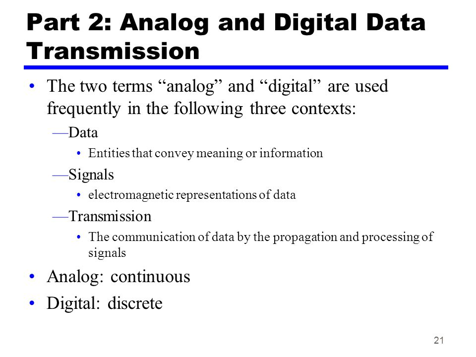 Part 2: Analog and Digital Data Transmission