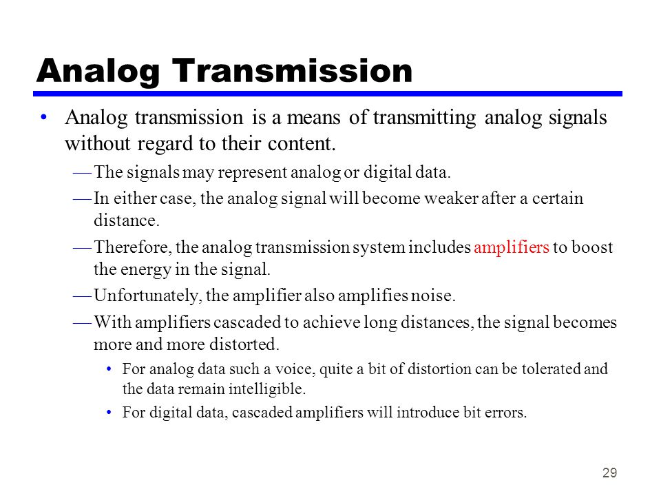Analog Transmission Analog transmission is a means of transmitting analog signals without regard to their content.