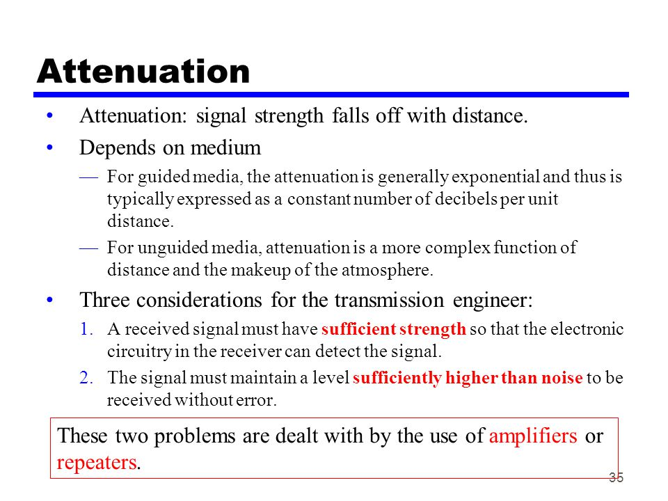 Attenuation Attenuation: signal strength falls off with distance.