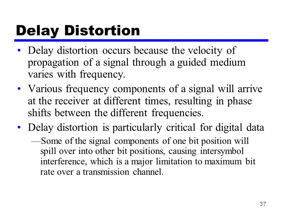 Delay Distortion Delay distortion occurs because the velocity of propagation of a signal through a guided medium varies with frequency.