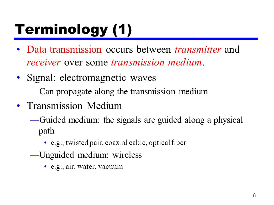 Terminology (1) Data transmission occurs between transmitter and receiver over some transmission medium.