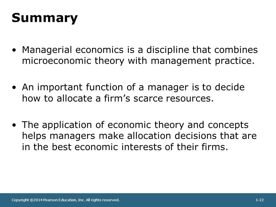 Summary Managerial economics is a discipline that combines microeconomic theory with management practice.