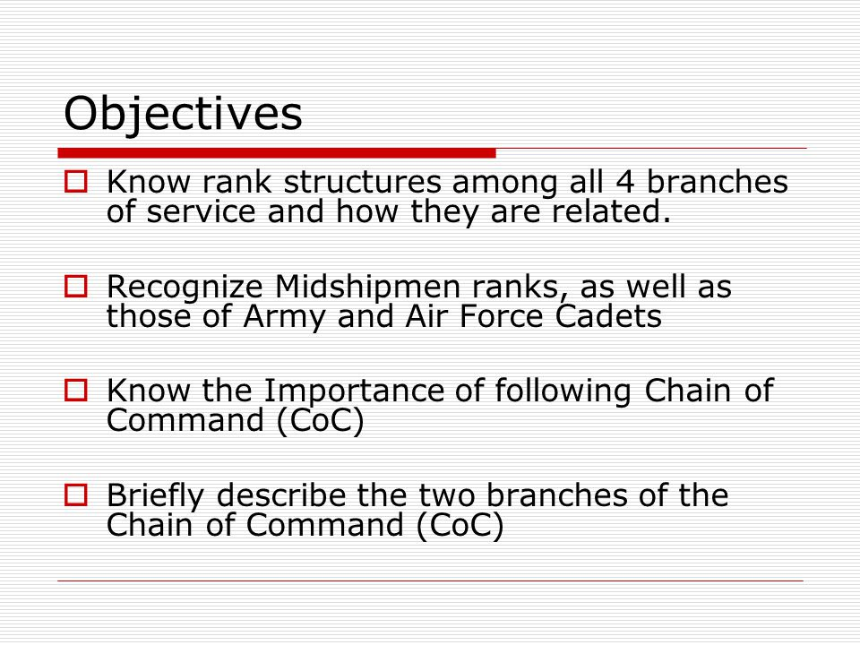 Objectives Know rank structures among all 4 branches of service and how they are related.