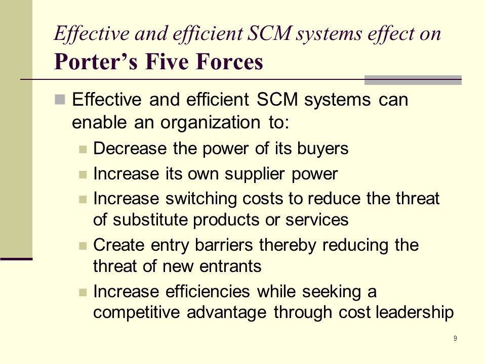 Effective and efficient SCM systems effect on Porter's Five Forces