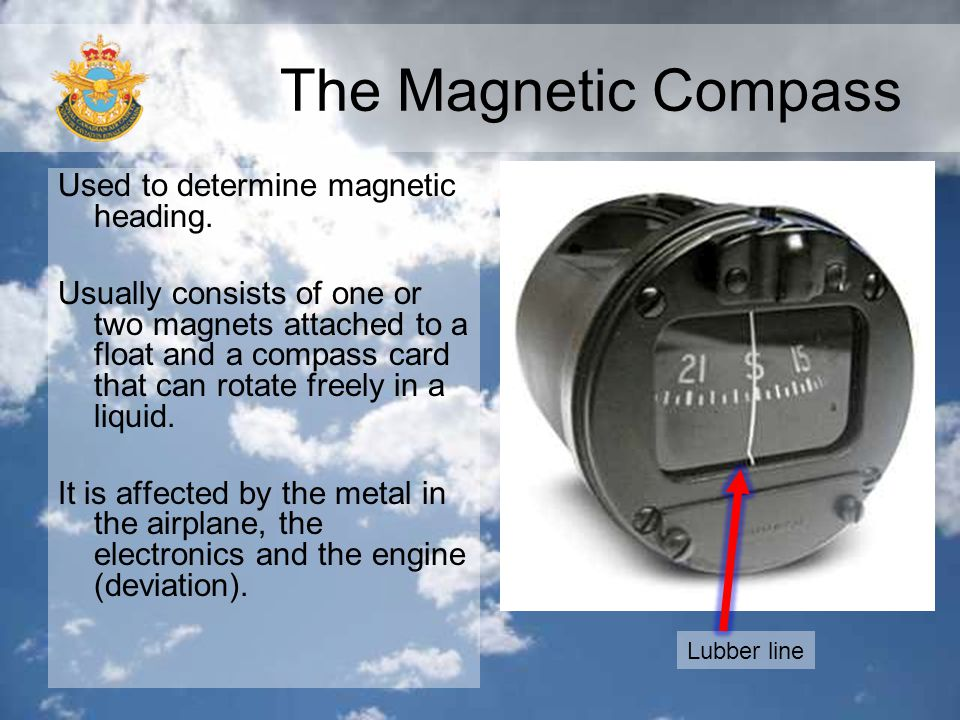The Magnetic Compass Used to determine magnetic heading.