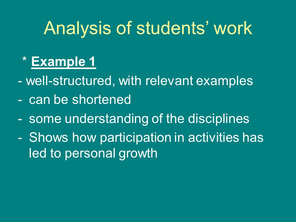 Analysis of students' work